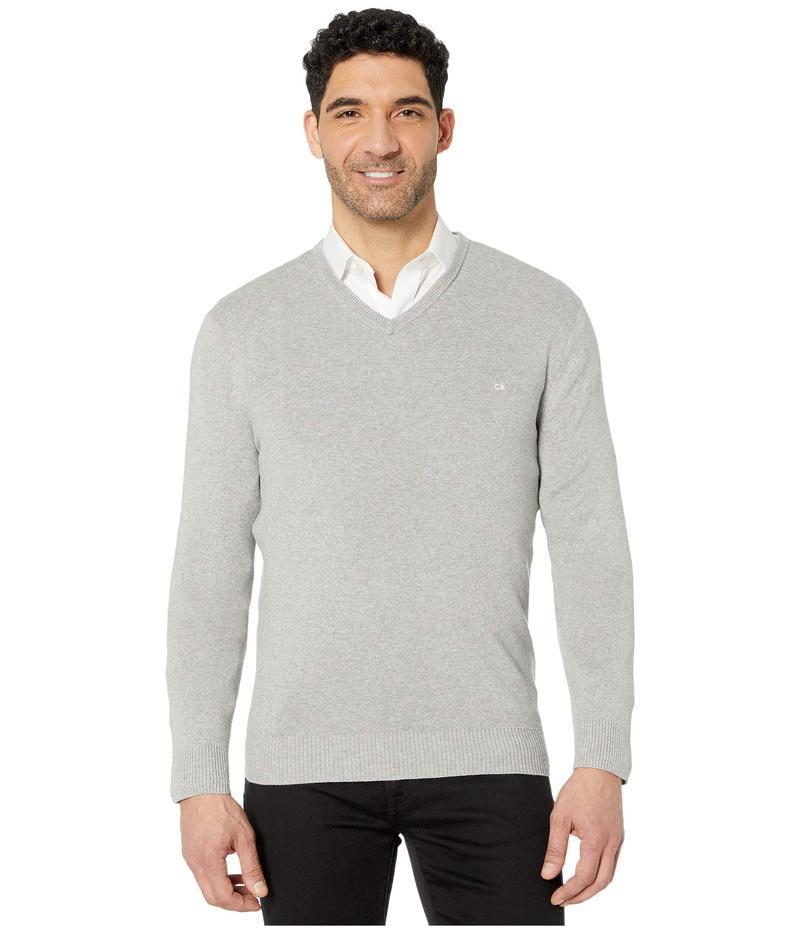 カルバンクライン メンズ ニット・セーター アウター Cotton Modal Long Sleeve V-Neck Heroic Grey Heather
