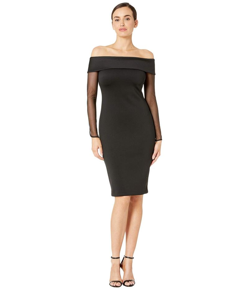 カルバンクライン レディース ワンピース トップス Sheath Dress with Illusion Sleeve Black