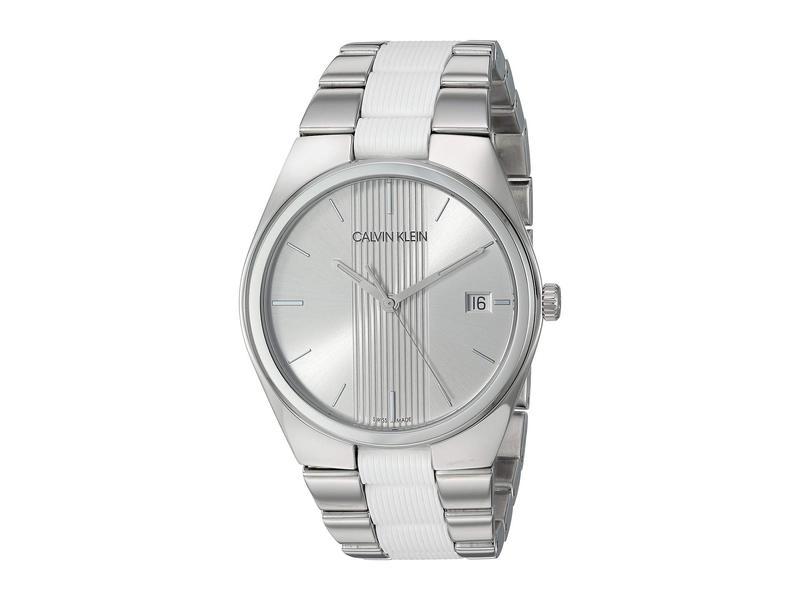 カルバンクライン メンズ 腕時計 アクセサリー Contrast - K9E211K6 Stainless Steel/White Silicone