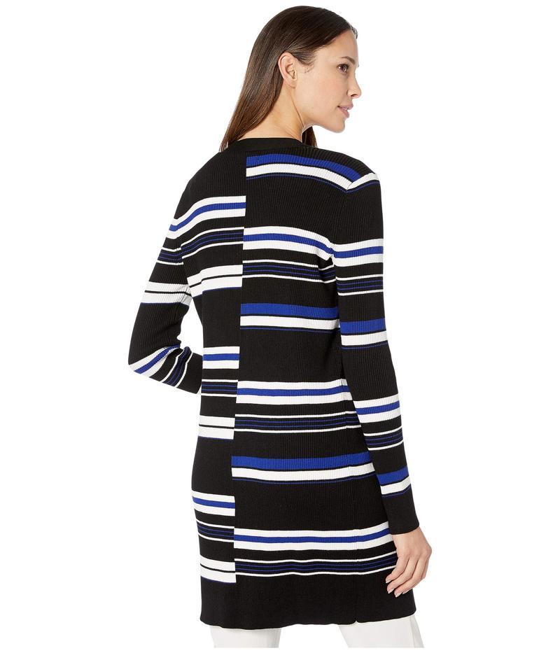 カルバンクライン レディース ニット・セーター アウター Striped Open Cardigan Black White B4RjLc35qSA