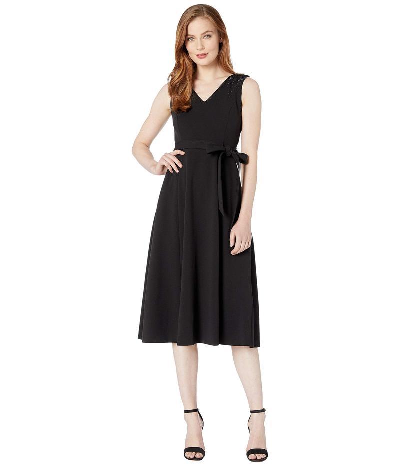 カルバンクライン レディース ワンピース トップス Self Tie Belted Midi Dress w/ Embellished Shoulder Detail Black
