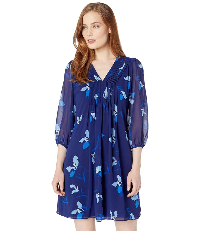カルバンクライン レディース ワンピース トップス 3/4 Sleeve Floral Print Chiffon Dress Capri Multi