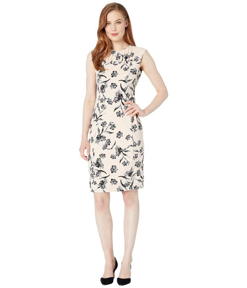 カルバンクライン レディース ワンピース トップス Floral Print Sheath Dress w/ Ruched Neck Blossom/Black