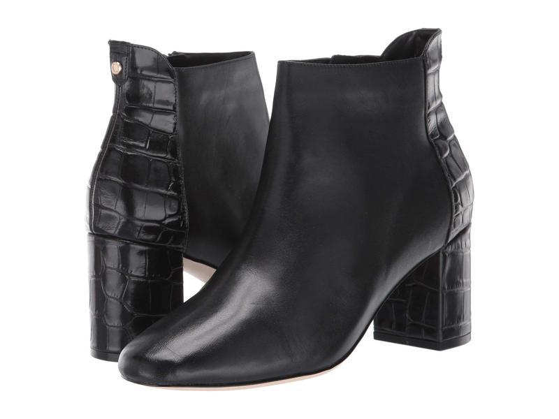 コールハーン レディース ブーツ・レインブーツ シューズ Nella Bootie 65 mm Black Leather/Black Croc Print