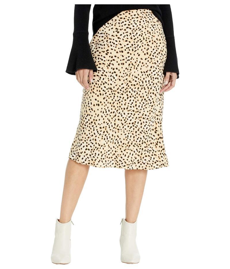 カップケーキアンドカシミア レディース スカート ボトムス Lorelai Natural Waist Leo Dot Soft Satin Midi Skirt Latte