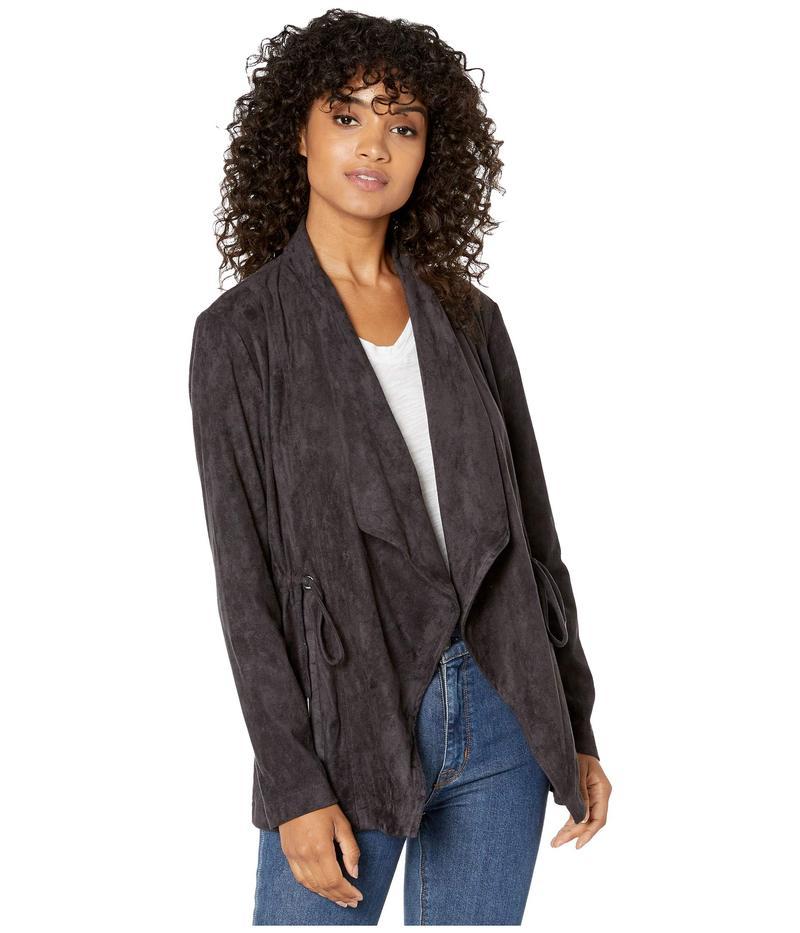 カップケーキアンドカシミア レディース コート アウター Naomi Drape Front Faux Suede Jacket w/ Cinch Waist Charcoal