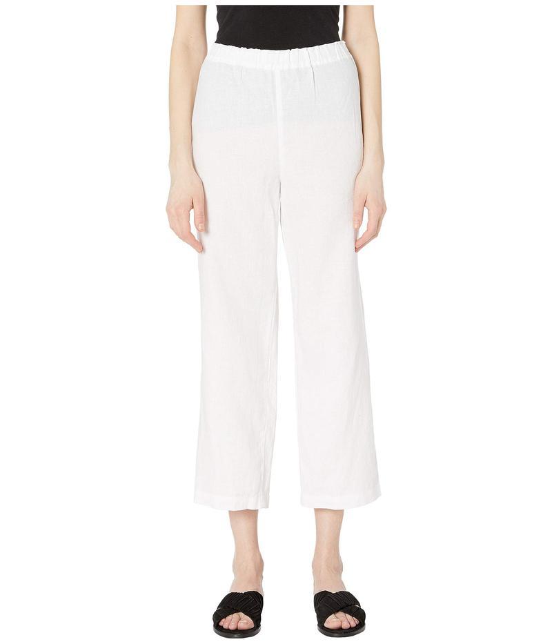 エイリーンフィッシャー レディース カジュアルパンツ ボトムス Organic Linen Straight Cropped Pants White