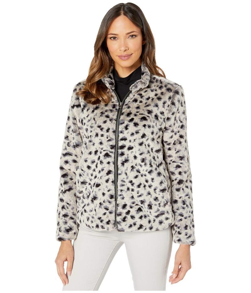デイランバイトゥルーグリット レディース コート アウター Leopard Faux Fur Mock Zip Jacket Denim