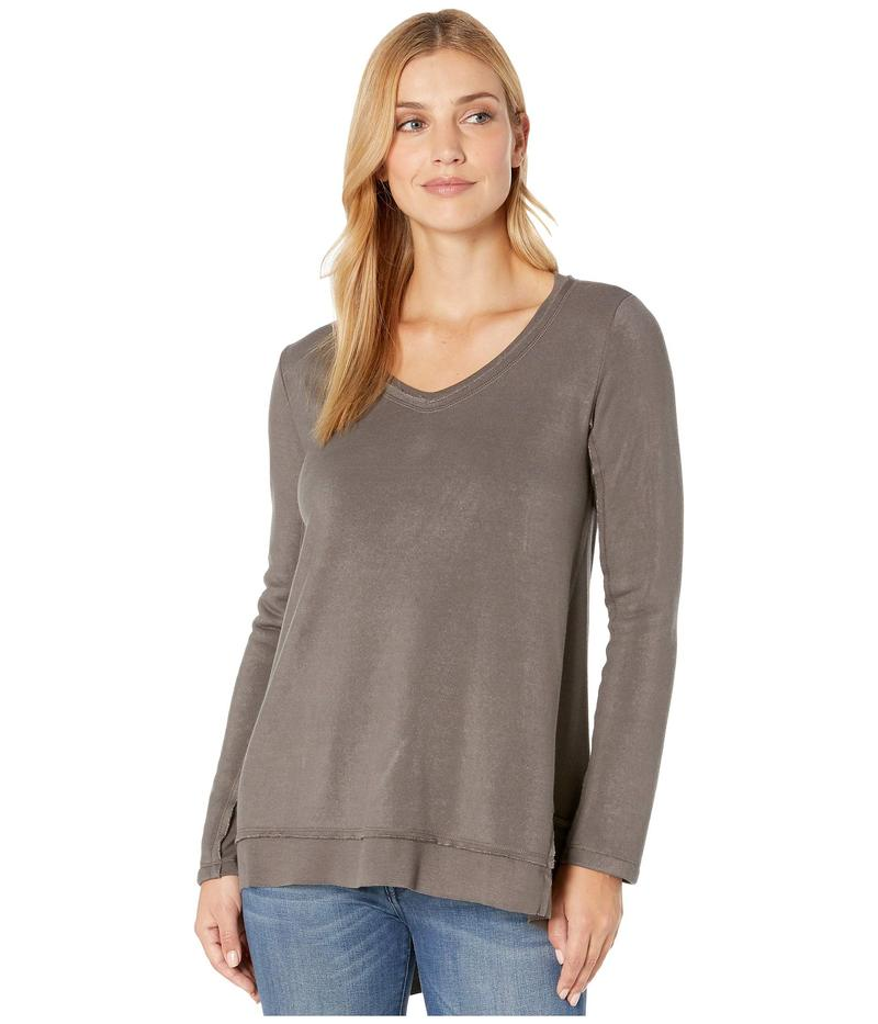 デイランバイトゥルーグリット レディース パーカー・スウェット アウター Minky Cotton Ultra Soft Fleece Long Sleeve Asymmetrical V-Neck Carbon