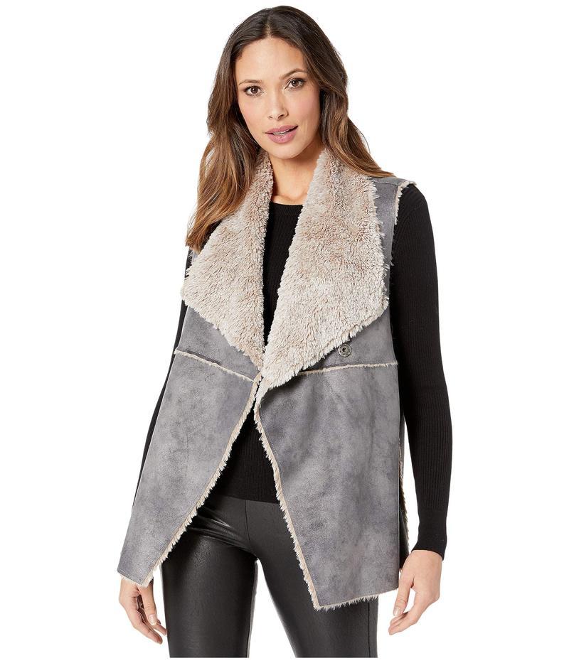 デイランバイトゥルーグリット レディース コート アウター Maddie Reversible Vest with Soft Bonded Faux-Shearling Denim