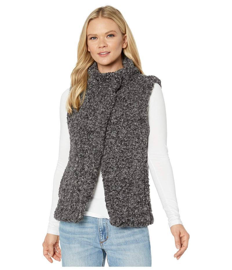 デイランバイトゥルーグリット レディース コート アウター Faux-Shearling Pile Cozy Vest with Soft Knit Lining Charcoal