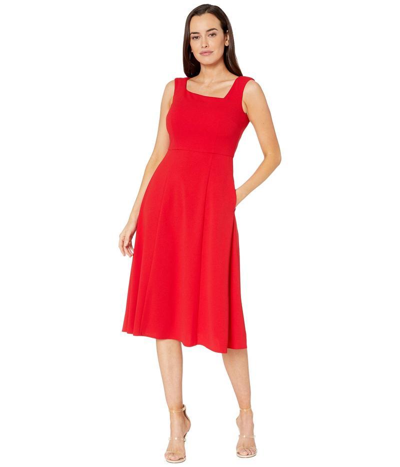 ドナモーガン レディース ワンピース トップス Stretch Crepe Sleeveless Asymmetric Neckline Fit and Flare Dress Red