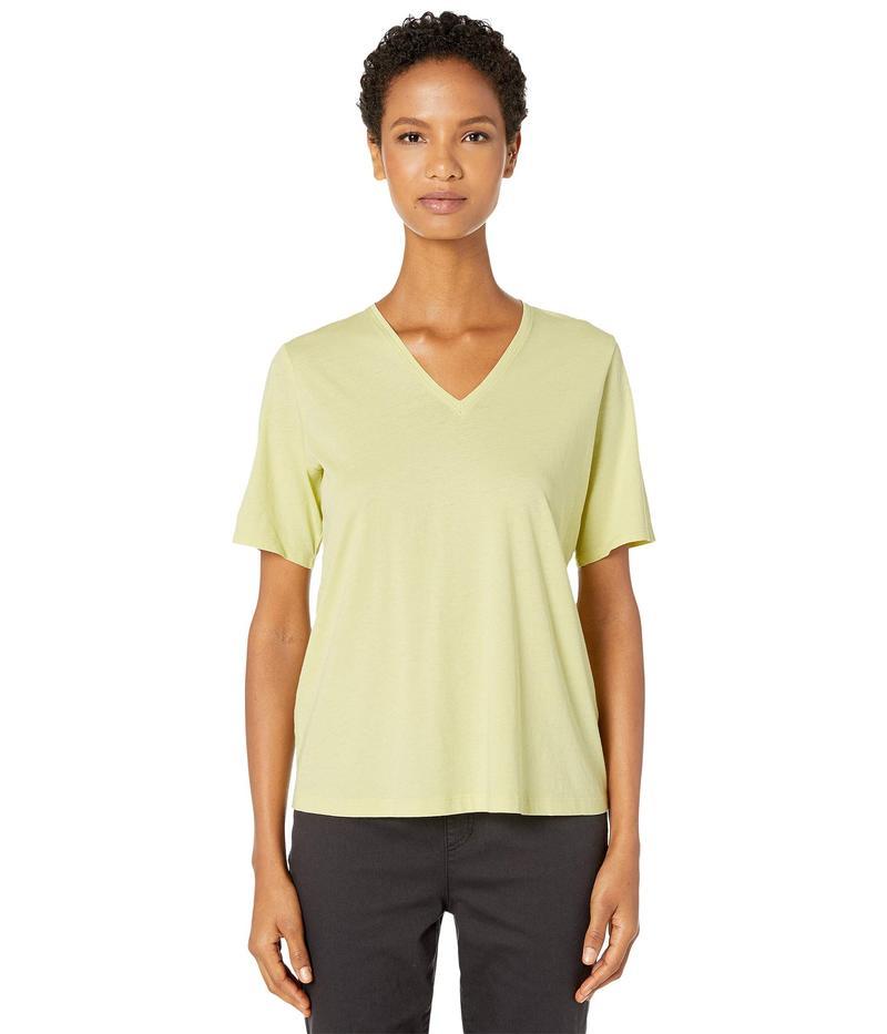 エイリーンフィッシャー レディース シャツ トップス Organic Cotton Jersey V-Neck Short Sleeve Top Lemon Ice