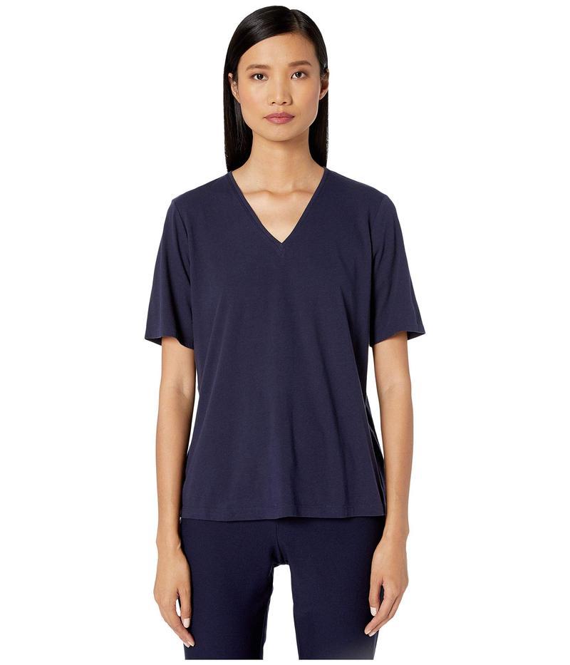 エイリーンフィッシャー レディース シャツ トップス Organic Cotton Jersey V-Neck Short Sleeve Top Midnight