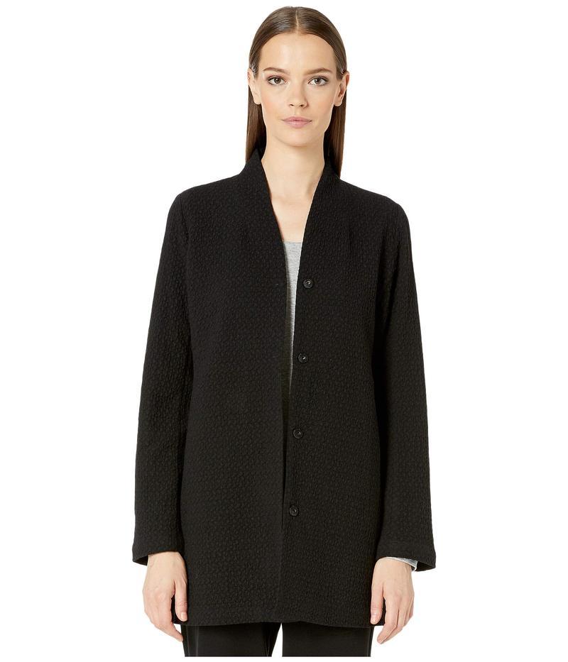 エイリーンフィッシャー レディース コート アウター Cotton Tencel Stretch Chevron High Collar Long Jacket Black