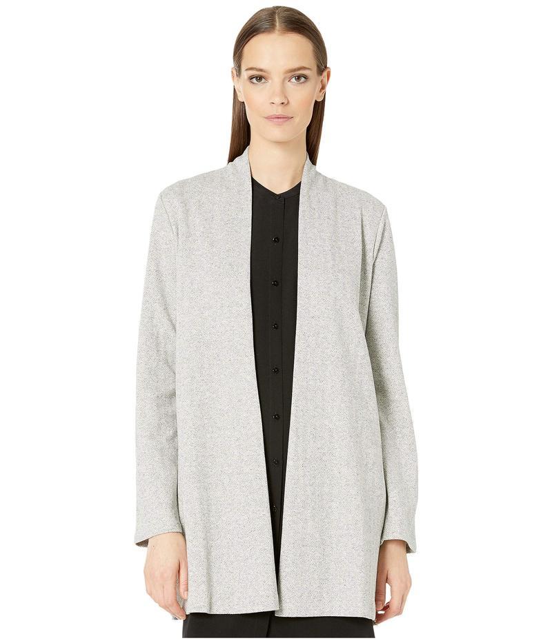 エイリーンフィッシャー レディース コート アウター Organic Cotton Herringbone Long Sleeve Jacket w/ Side Slits Dark Pearl