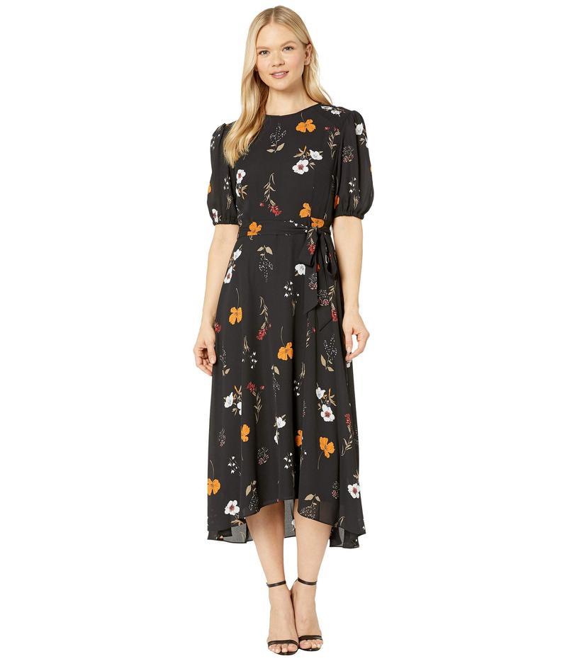 ドナモーガン レディース ワンピース トップス Floral Printed Elbow Sleeve High-Low Georgette Dress Black/Burnt Orange Multi
