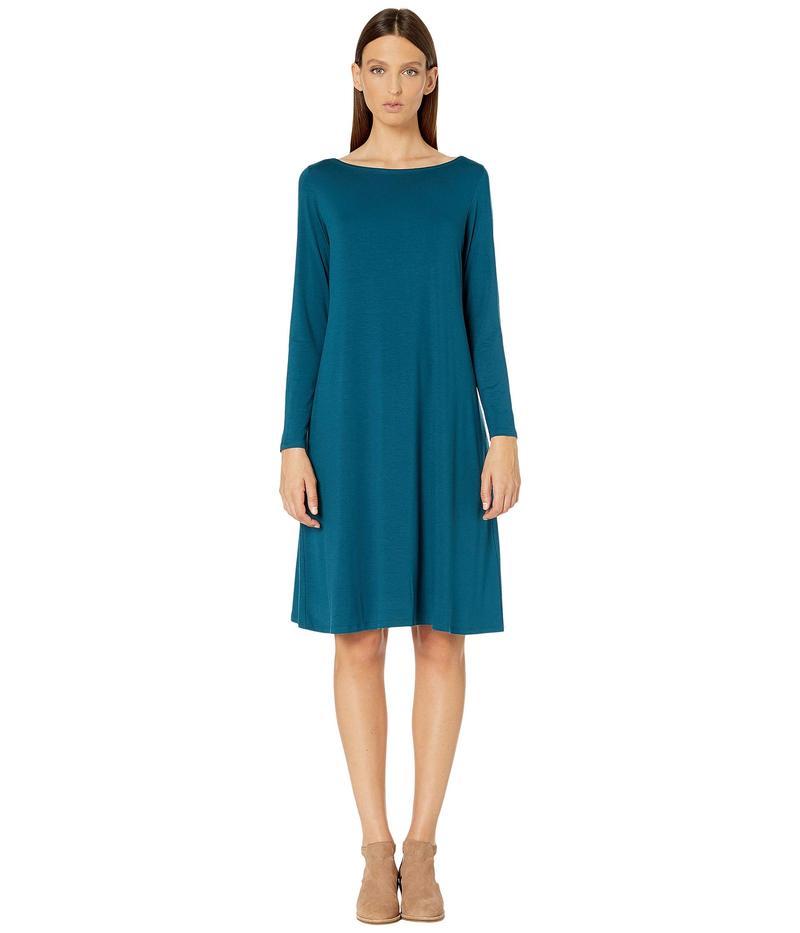 エイリーンフィッシャー レディース ワンピース トップス Fine Tencel Jersey Bateau Neck Knee Length Dress Blue Spruce
