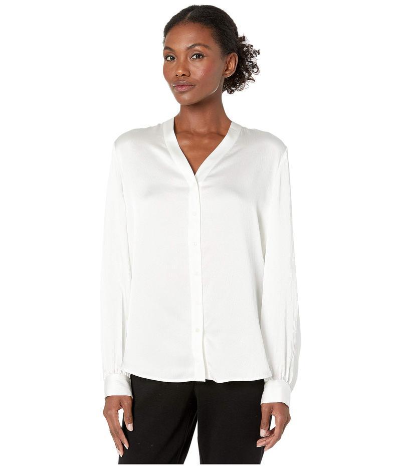 エイリーンフィッシャー レディース シャツ トップス Hammered Silk High Back Band Collar Shirt Ivory