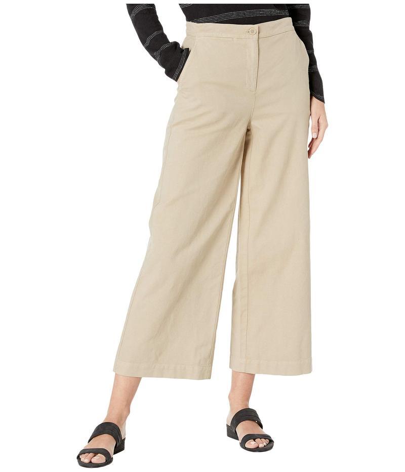 エイリーンフィッシャー レディース カジュアルパンツ ボトムス Organic Cotton Hemp Stretch Wide Leg Ankle Pants Khaki