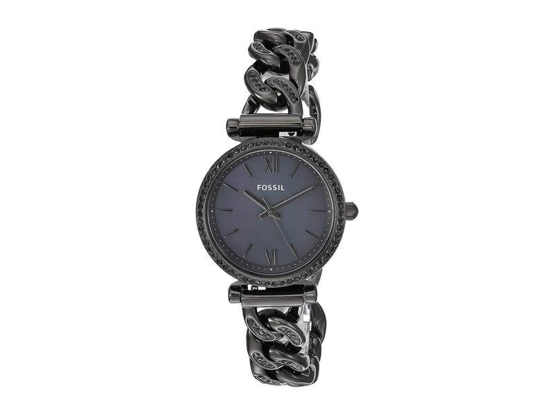 フォッシル レディース 腕時計 アクセサリー Carlie Mini Three-Hand Stainless Steel Watch ES4690 Black Stainless Steel