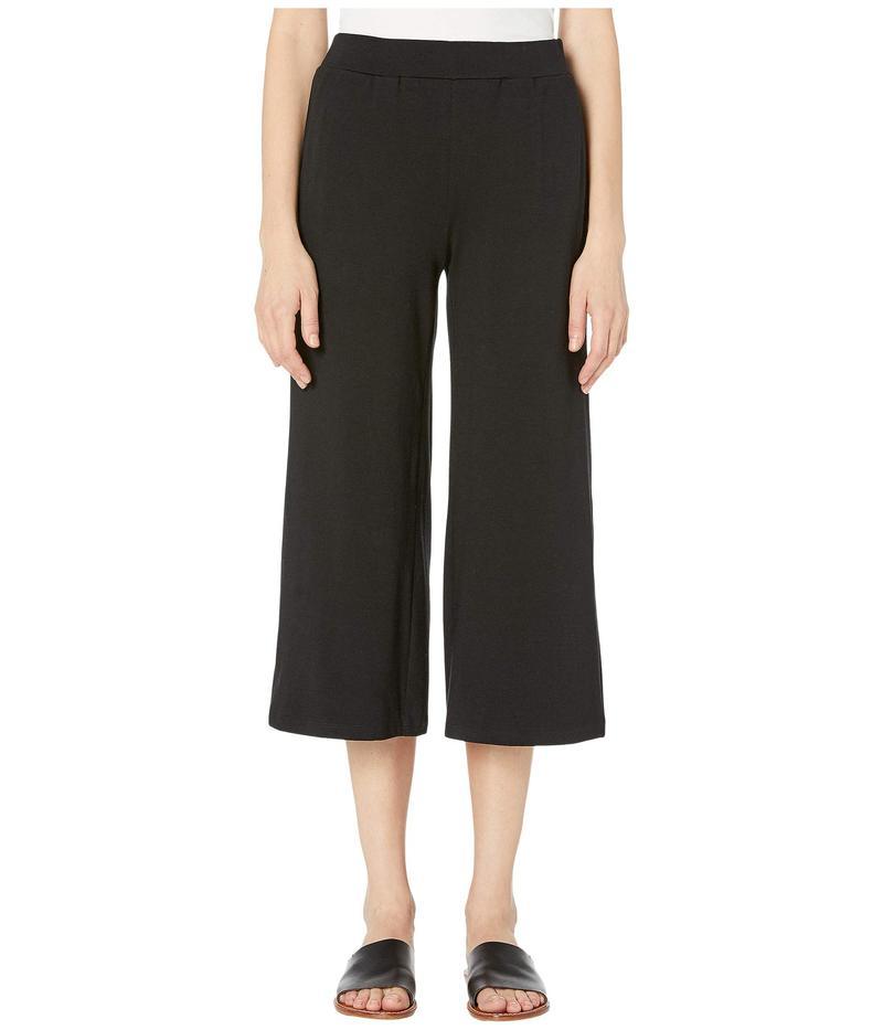 エイリーンフィッシャー レディース カジュアルパンツ ボトムス Organic Cotton Stretch Jersey Straight Cropped Pants Black