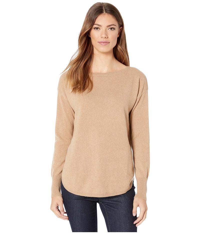 エリオットローレン レディース ニット・セーター アウター Cashmere Bateau Neck Sweater with Shirttail Hem Camel
