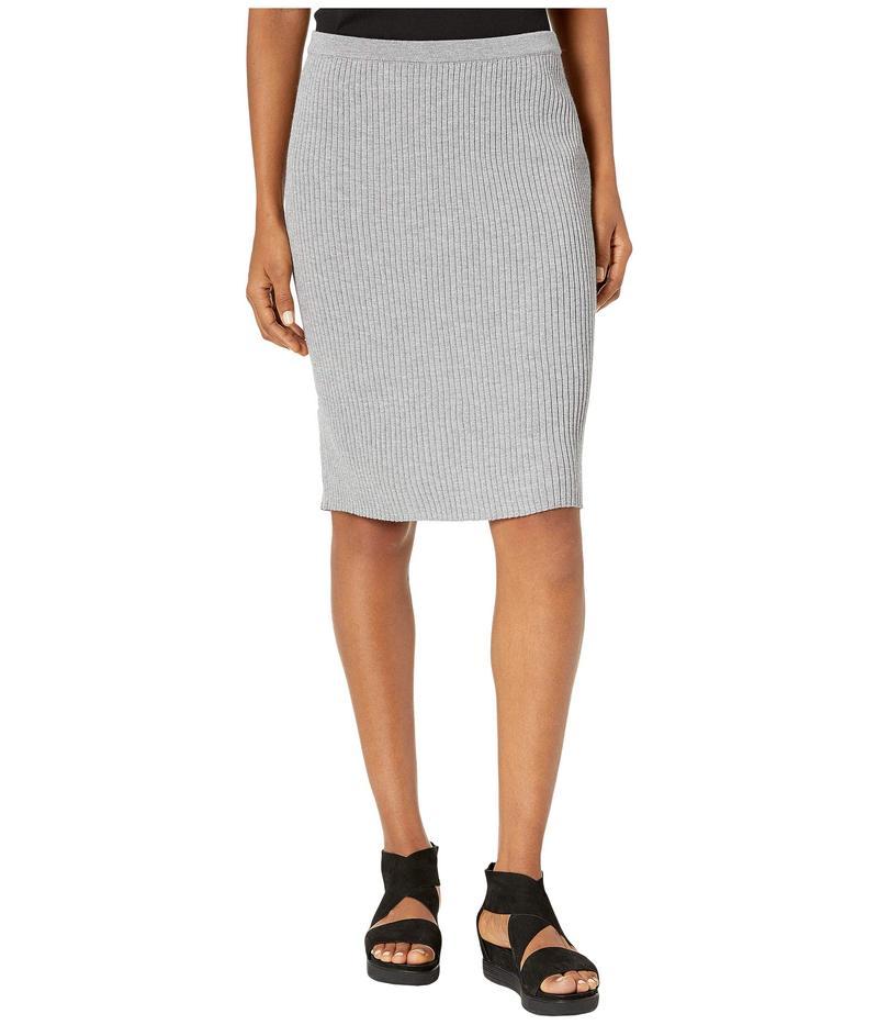 エイリーンフィッシャー レディース スカート ボトムス Washable Wool Rib Knee Length Skirt Pewter