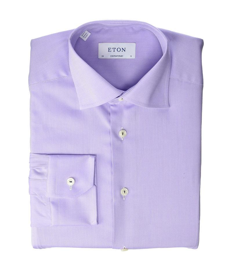 エトン メンズ シャツ トップス Contemporary Fit Tonal with Colored Piping Shirt Purple