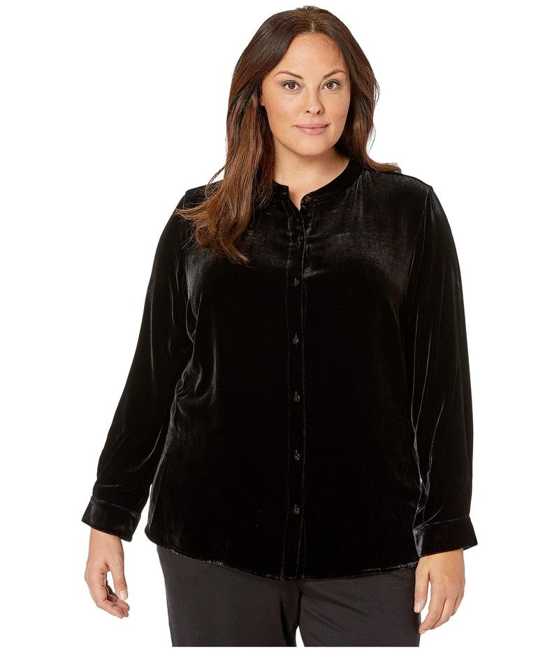 エイリーンフィッシャー レディース シャツ トップス Plus Size Velvet Mandarin Collar Long Shirt Black