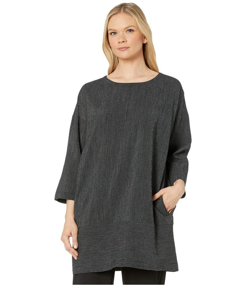 エイリーンフィッシャー レディース ワンピース トップス Tencel & Organic Cotton Crinkle Bateau Neck 3/4 Sleeve Dress Black
