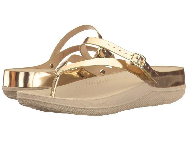 フィットフロップ レディース サンダル シューズ Flip Leather Sandals Gold Mirror