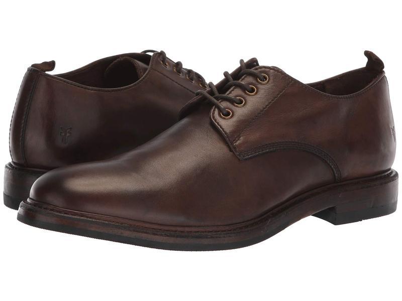 フライ メンズ オックスフォード シューズ Murray Oxford Brown Washed Dip-Dye Leather