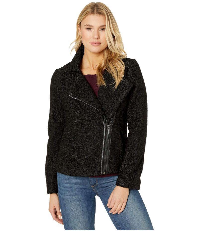 リバプール レディース コート アウター Zip-Up Moto Jacket in Soft Boucle Black