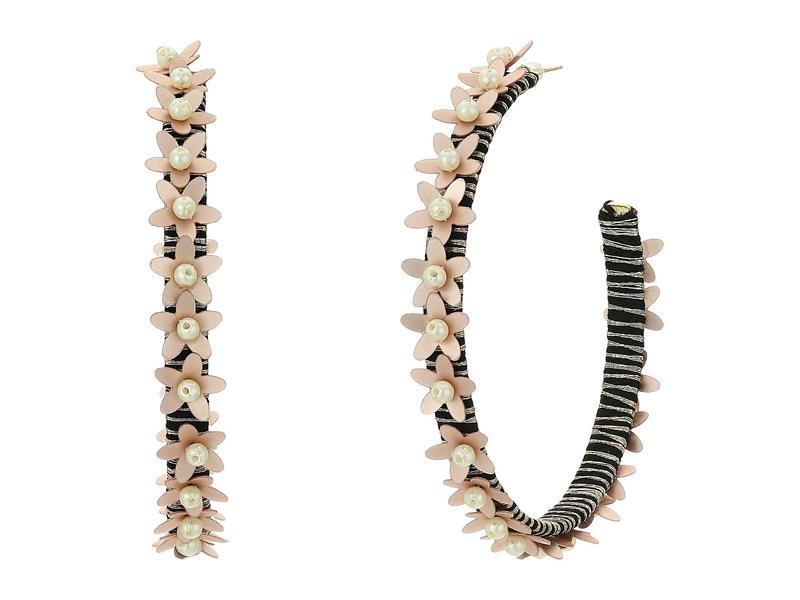 ケネスジェイレーン レディース ピアス・イヤリング アクセサリー Gold Threaded Pierced Hoop Earrings with Beige Flowers Gold/Beige