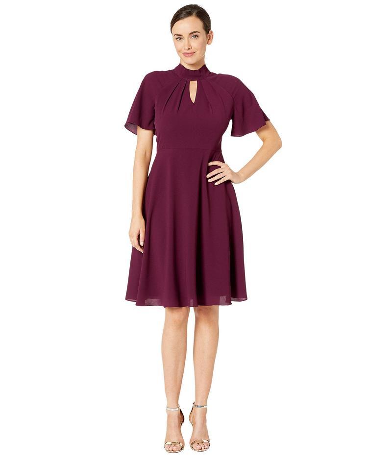 マギーロンドン レディース ワンピース トップス Crepe Fit and Flare Dress with Flutter Sleeve Oxblood