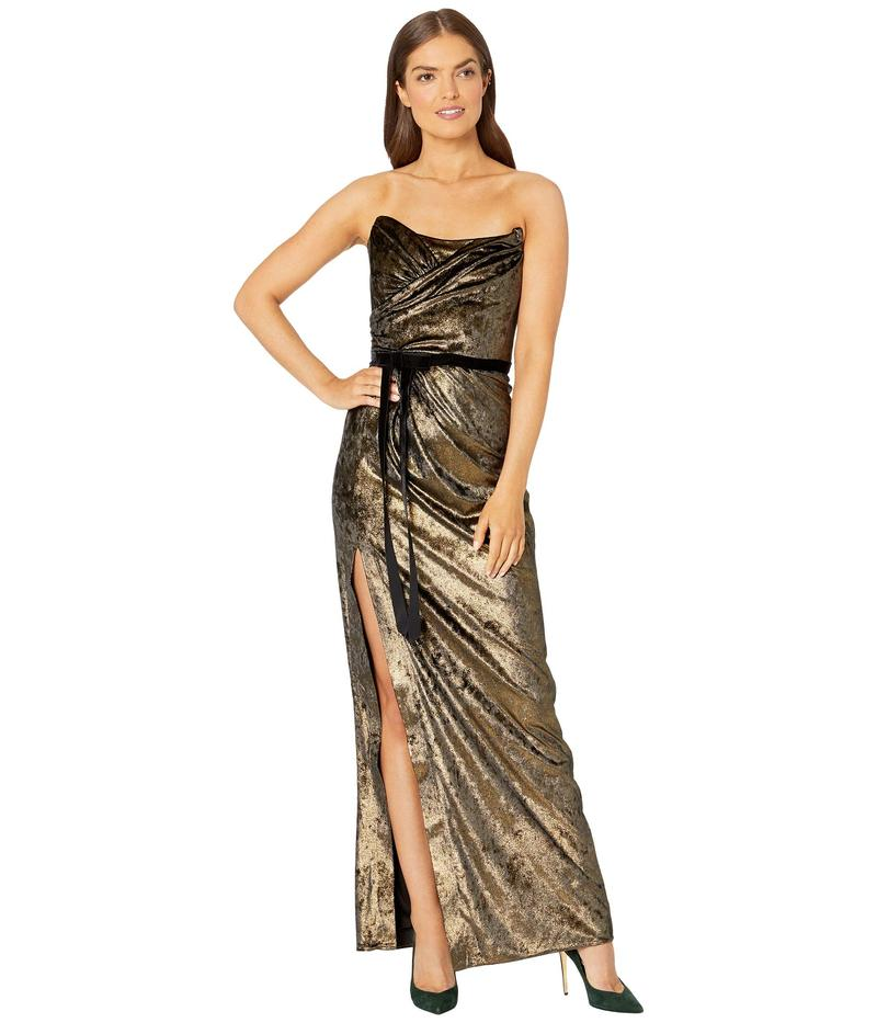 マルケサノット レディース ワンピース トップス Strapless Foiled Velvet Gown with Draped Bodice, High Slit and Velvet Ribbon Waistband Gold