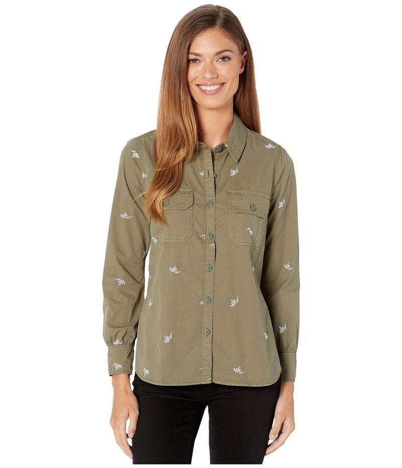 ラッキーブランド レディース シャツ トップス Embroidered Shirt Jacket Washed Olive