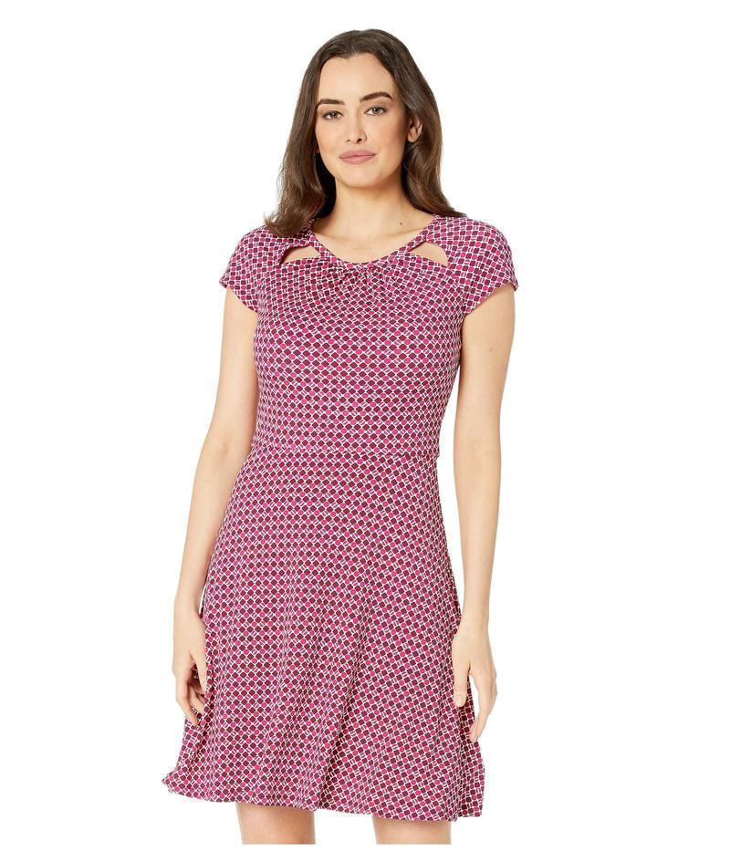 マイケルコース レディース ワンピース トップス Bias Tile Dot Fit and Flare Dress Deep Fuchsia/Garnet