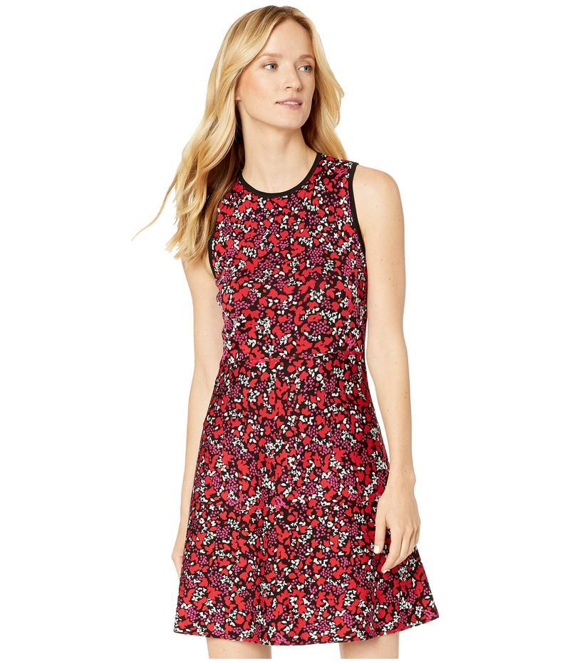 マイケルコース レディース ワンピース トップス Leaf Jacquard Sleeveless Dress Black/Scarlet