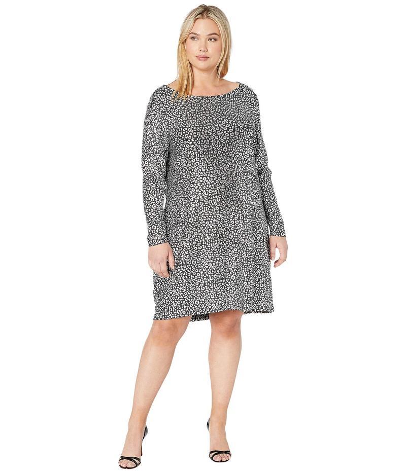 マイケルコース レディース ワンピース トップス Plus Size Catty Foil Cowl Back Dress Black/Silver
