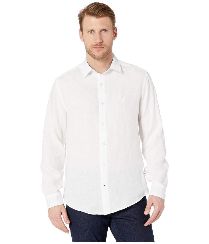 ナウティカ メンズ シャツ トップス Long Sleeve Faded Linen Shirt Bright White