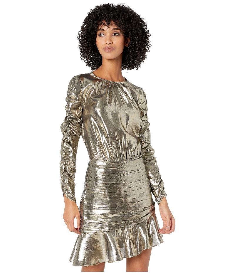 モニーク ルイリエ レディース ワンピース トップス Ruched Long Sleeve Metallic Dress Gold Metallic