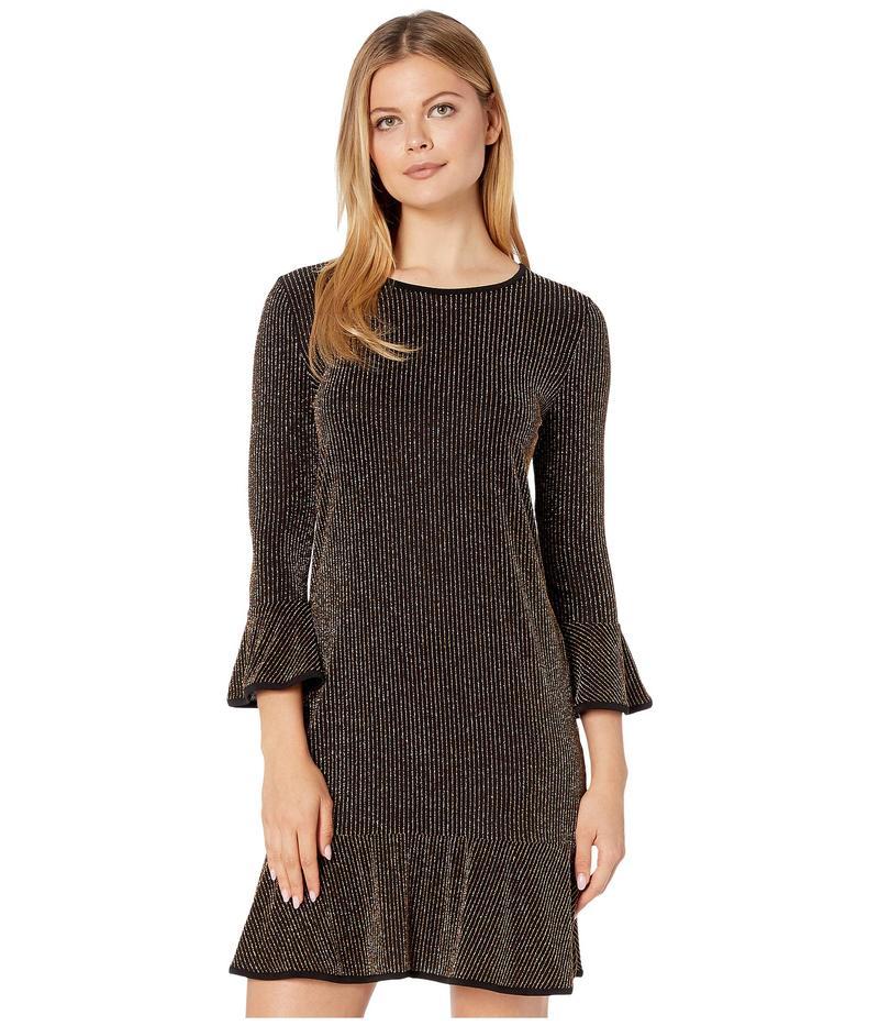マイケルコース レディース ワンピース トップス Sparkle Stripe Flounce Dress Black/Gold