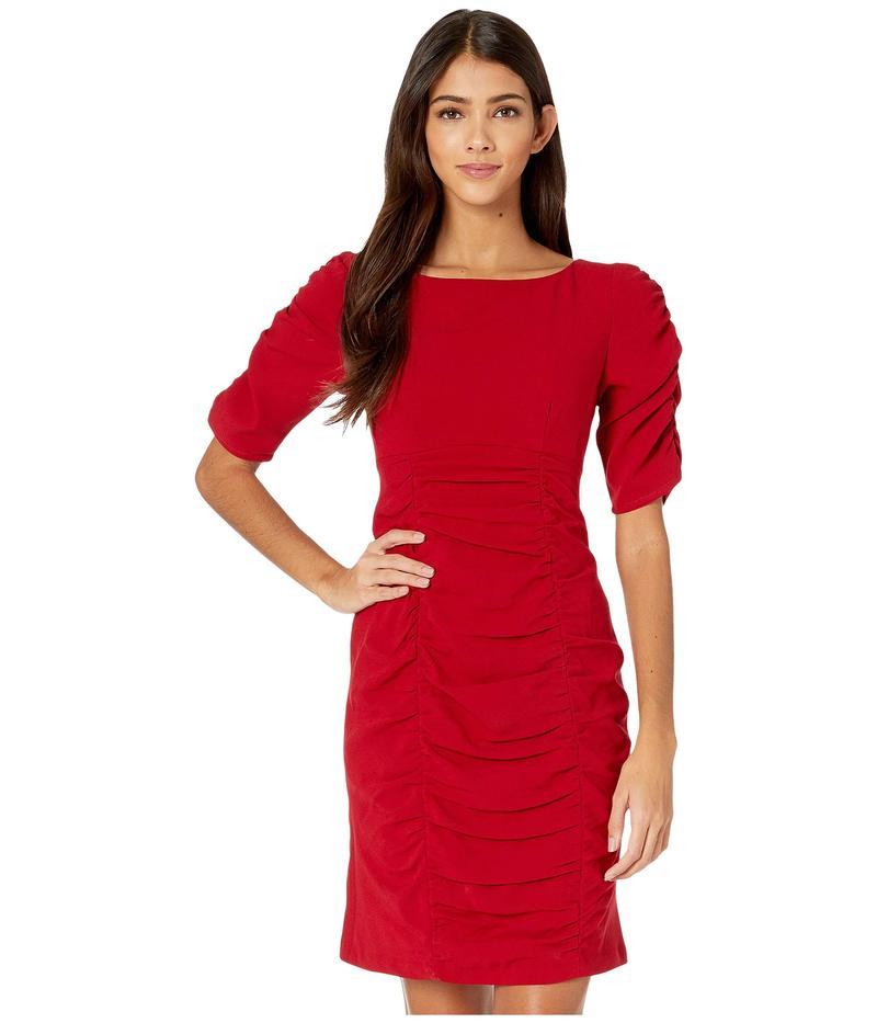 ナネットレポー レディース ワンピース トップス Ruched Dress Crimson