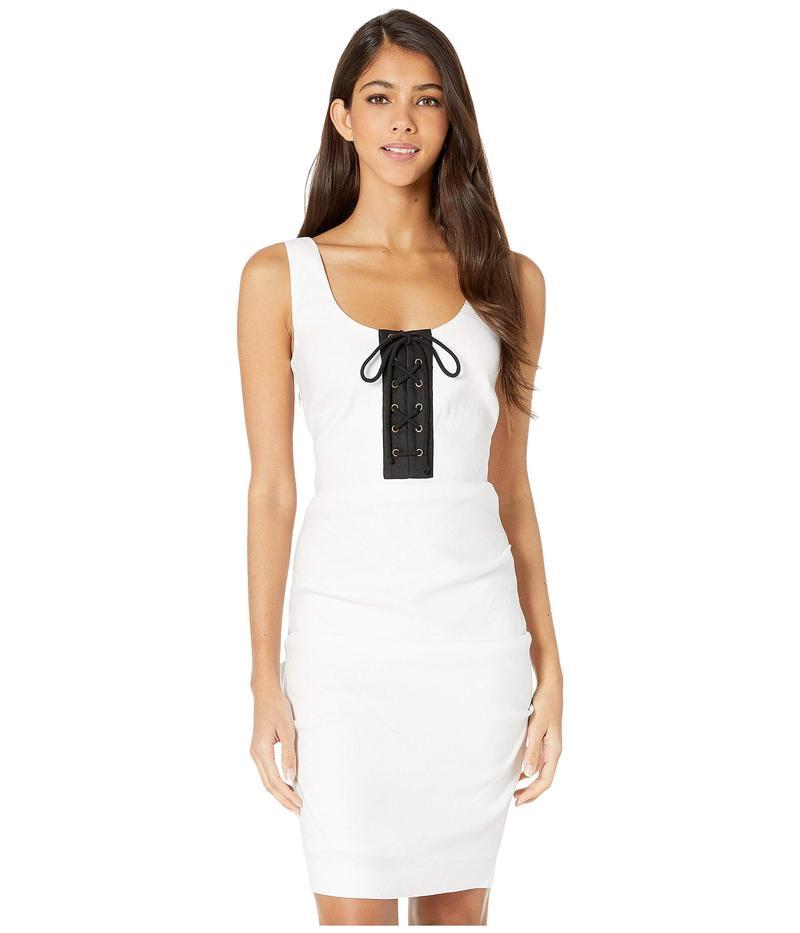 ニコルミラー レディース ワンピース トップス Solid Stretch Linen Scoop Neck Tuck Dress White/Black