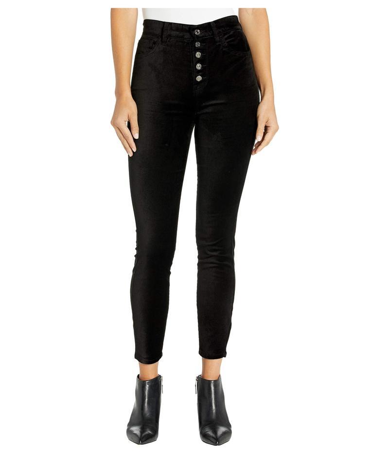 セブンフォーオールマンカインド レディース デニムパンツ ボトムス High Waist Ankle Skinny Exposed Button Black Velvet