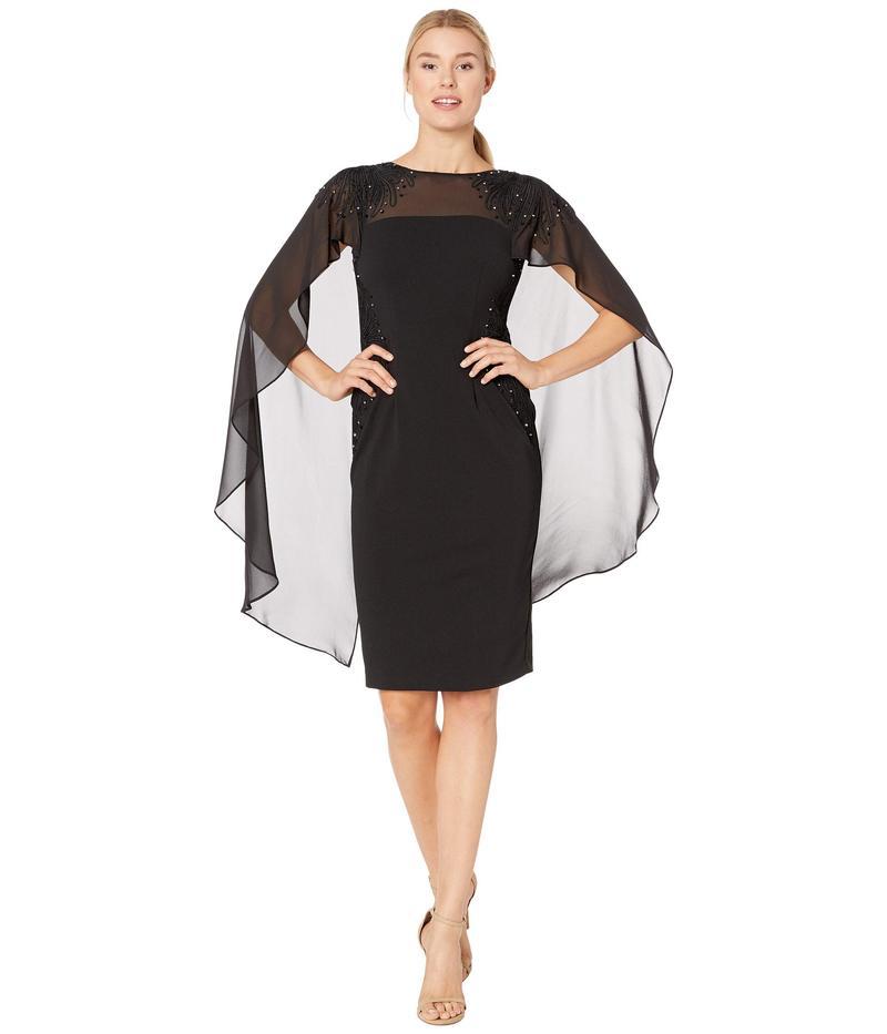 アドリアナ パペル レディース ワンピース トップス Crepe Cocktail Dress with Soutach Embroidery Black