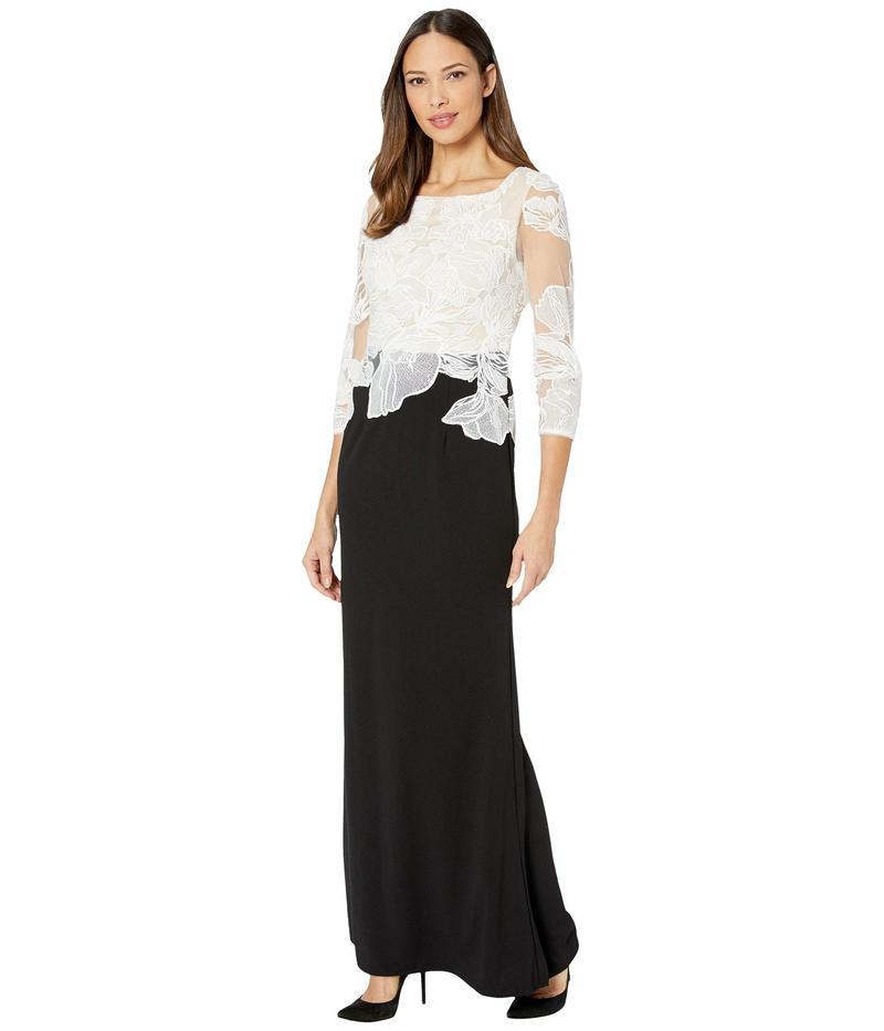 アドリアナ パペル レディース ワンピース トップス Embroidered Contrast Evening Gown Black/Ivory