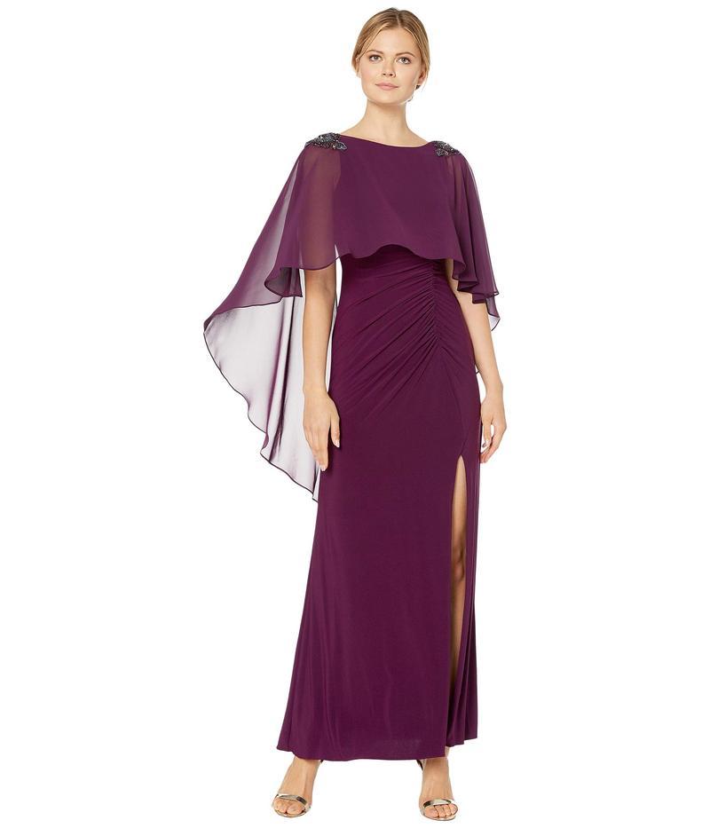 アドリアナ パペル レディース ワンピース トップス Chiffon Capelet Jersey Gown with Embellishment Shiraz